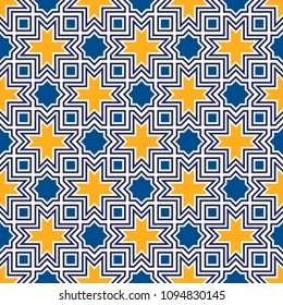 Seamless surface design with arabic ornament. Moroccan stars and crosses motif. Oriental traditional pattern with repeated mosaic tile. Tracery window wallpaper. Arabesque digital paper, textile print