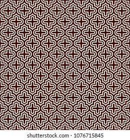 Seamless surface design with ogee ornament. Oriental traditional pattern with repeated mosaic tile. Tracery window wallpaper. Moroccan crosses motif. Arabesque digital paper, textile print. Vector art