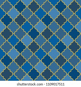 Seamless surface design with ogee ornament. Oriental traditional pattern with repeated mosaic tile. Tracery window wallpaper. Moroccan lantern motif. Arabesque digital paper, textile print. Vector art