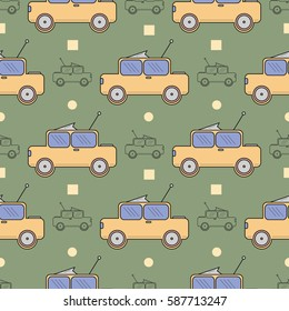 Seamless surface pattern with children colored cars on green background