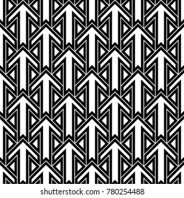 Seamless surface pattern design with arrows and triangles ornament. Repeated figures ornamental background. Ethnic wallpaper. Tribal embroidery motif. Digital paper, page fill, textile print. Vector.