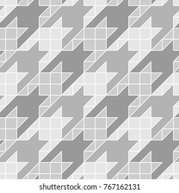 Seamless surface pattern design with houndstooth ornament. Squares, triangles, sign wallpaper. Fabric background. Mosaic motif. Digital paper, textile print, page fill, web designing. Vector art.