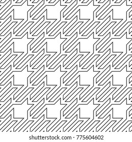 Seamless surface pattern design with houndstooth material ornament. Tooth figures wallpaper. Fabric background. Cloth mosaic motif. Digital paper, textile print, page fill, web designing. Vector art.