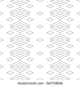 Seamless surface pattern design with outline diamonds ornament. Lozenge motif. Repeated black rhombuses on white background. Ethnic wallpaper. Digital paper for textile print, web designing. Vector