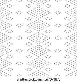Seamless surface pattern design with outline diamonds ornament. Lozenge motif. Repeated black rhombuses on white background. Ethnic wallpaper. Digital paper for textile print, web designing. Vector.