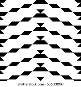 Seamless surface pattern design with parallelograms, triangles and trapezoids. Polygons abstract wallpaper. Ethnic embroidery ornament. Black zigzag stripes. Jagged geometrical figures. Digital paper.