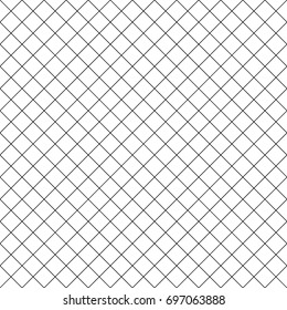 Seamless surface pattern with mini diamond ornament. Black diagonal stripes grill on white background. Grid motif. Crossed lines wallpaper. Checkered image. Digital paper for print. Rhombuses vector.