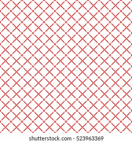 Seamless surface pattern with symmetric geometric ornament. Red diagonal stripes abstract on white background. Grill motif. Crossing lines wallpaper. Digital paper for page fill. Vector illustration