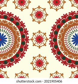 Seamless suzani pattern - traditional carpet pattern, traditional art in Central Asia, using in Home decor and fashion industry. Suzane. Embroidery textile product. Samarkand style suzani