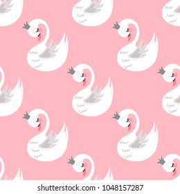 Seamless swan princess pattern. Cute princess swan. Cartoon hand drawn vector illustration.
