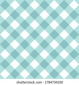 Seamless sweet mint blue and white background, checkered vector pattern or grid texture for web design, desktop wallpaper or culinary blog website