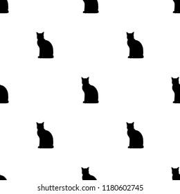 seamless symmetric pattern with   silhouettes of black cats isolated on white. Vector flat animal ormament.