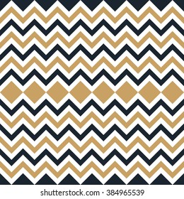 Seamless tan blue and brown interchanging zigzag chevron pattern vector