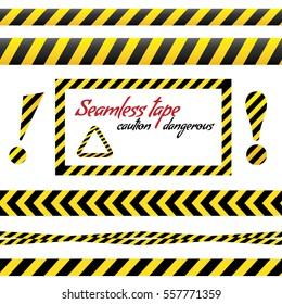 Seamless tape caution, danger. Vector illustration. Yellow police line Warning tape, danger tape, caution tape.