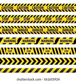 Seamless tape caution, danger. Vector illustration. Yellow police line Warning tape, danger tape, caution tape.