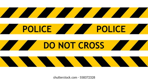 Seamless tape fencing police guard the scene of offence with a request not to go cross. Vector seamless Yellow Plastic Crime Scene Do Not Cross