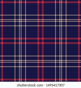 Seamless tartan check plaid pattern vector background. Dark multicolored plaid in blue, red, and beige for flannel shirt or other modern textile design.