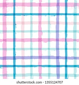 seamless tartan girly pattern, plaid print, checkered summer paint brush strokes. Gingham. Rhombus and squares texture for textile: shirts, tablecloths, clothes, dresses, bedding, blankets, paper.