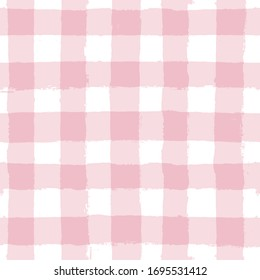 seamless tartan girly pattern, plaid print, checkered pink paint brush strokes. Gingham. Rhombus and squares texture for textile: shirts, tablecloths, clothes, dresses, bedding, blankets, paper.