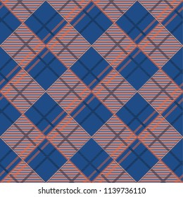Seamless tartan plaid pattern in blue tone and red line.