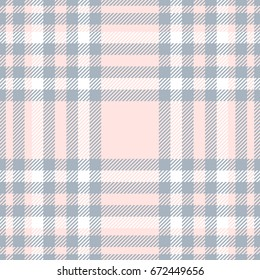 Seamless tartan plaid pattern. Checker fabric texture background. Vector design for digital textile printing. Color palette: bluish gray, white and pale reddish pink.