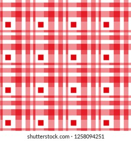 Seamless tartan plaid pattern. Checkered fabric texture print in stripes of dark moderate red, pink, white.