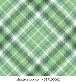 Seamless tartan plaid pattern. Checkered fabric texture background in tones of dark & light green & white.