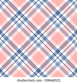 Seamless tartan plaid pattern. Checkered fabric texture print in dark navy blue, white and light grayish blue stripes on pale pinkish peach red background.