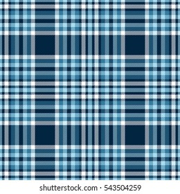 Seamless tartan plaid pattern. Checkered fabric texture print in stripes of white, light blue and greenish teal blue on dark royal blue background