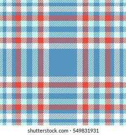 Seamless tartan plaid pattern. Checkered fabric texture print in blue, red and white.