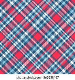 Seamless tartan plaid pattern. Checkered fabric texture in stripes of teal blue, cyan blue, white and bright magenta pink.
