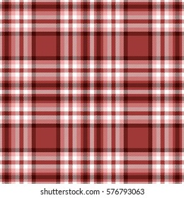Seamless tartan plaid pattern. Checkered fabric texture print in stripes of dark moderate red, pink, white and dark maroon.
