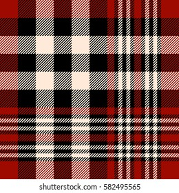 Seamless tartan plaid pattern. Checkered fabric texture print in stripes of dark red, black and beige