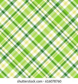 Seamless tartan plaid pattern. Checkered fabric texture print in stripes of dark and bright green and white.