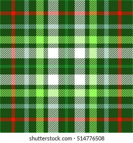 Seamless tartan plaid pattern in Christmas color palette of red, green & white. Traditional checkered textile print. Tartan fabric texture background. Vintage plaid clothing design.