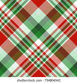 Seamless tartan plaid pattern in Christmas color palette.