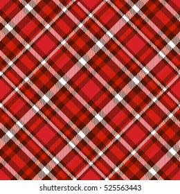 Seamless tartan plaid pattern. Fabric texture checkered background in shades of dark & light red & white.