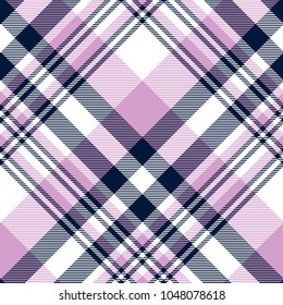 Seamless tartan plaid pattern in light pinkish violet, dark navy blue and white. Classic fabric texture for digital textile printing.