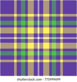 Seamless tartan plaid pattern. Mardi Gras color palette of green, gold and purple.