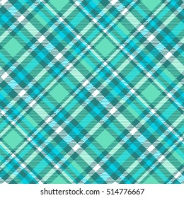 Seamless tartan plaid pattern in palette of aqua cyan green, teal green, white & turquoise green. Traditional checkered textile print. Tartan fabric texture background. Vintage plaid clothing design.