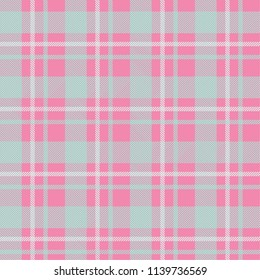Seamless tartan plaid pattern in pink tone.
