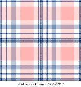 Seamless tartan plaid pattern in pink, navy blue and white.