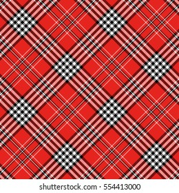 Seamless tartan plaid pattern in red, black and white.