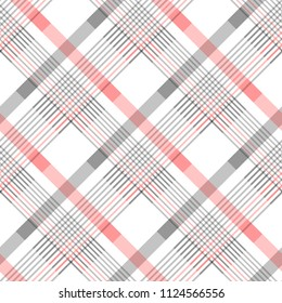 Seamless tartan plaid pattern in stripes of red, black and white. Checkered twill fabric texture. Vector swatch for digital textile printing. eps 10