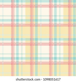 Seamless tartan plaid pattern in summer tone.