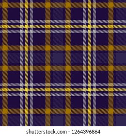 Seamless tartan plaid pattern with yellow and purple stripes. Checkered fabric texture background. Vector flat illustration.