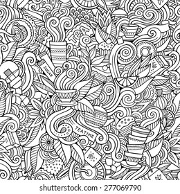 Seamless tea doodles abstract pattern background