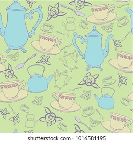 seamless tea party teacup teapot roses yellow green blue vector background