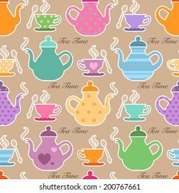 Seamless tea time background