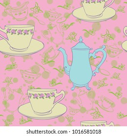 seamless teacup teapot background pink blue yellow green
